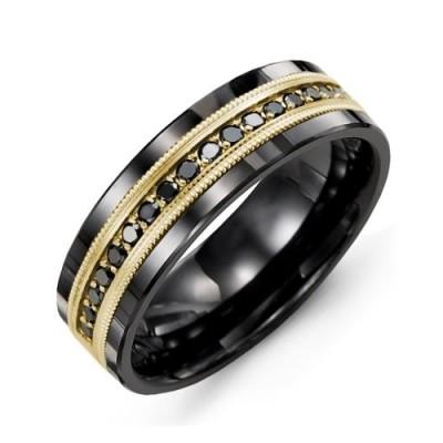 Jonc Madani or et tungsten, diamants noirs