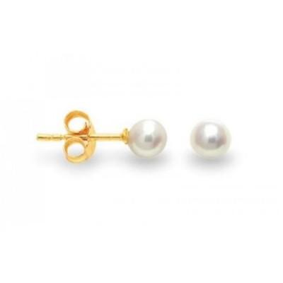 Boucles d'oreilles or jaune, perles d'eau douce