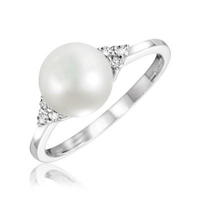 Bague or blanc, perle de culture et diamants
