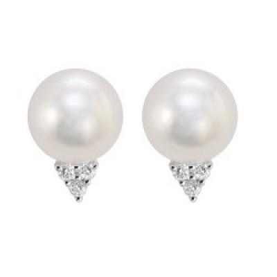 Boucles d'oreilles or blanc, perle de culture et diamants